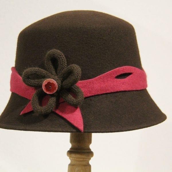 Chapeau femme feutre chocolat framboise