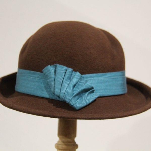 Chapeau femme feutre chocolat turquoise