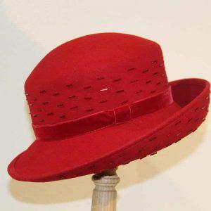 Chapeau femme feutre mérinos rouge